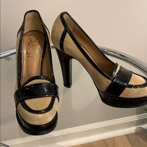 Vintage YSL Velvet and Black Patent Heels